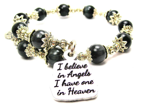 I Believe In Angels I Have One In Heaven Cats Eyes Glass Beaded Wrap Bracelet