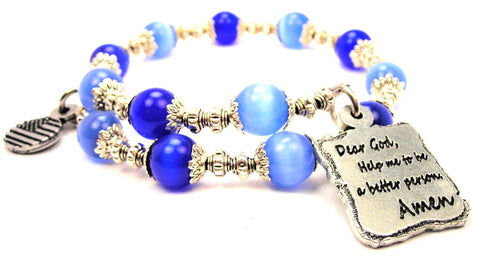 Dear God Help Me To Be A Better Person Amen Cats Eyes Glass Beaded Wrap Bracelet