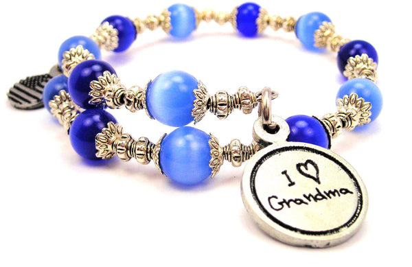 I Love Grandma Cats Eyes Glass Beaded Wrap Bracelet