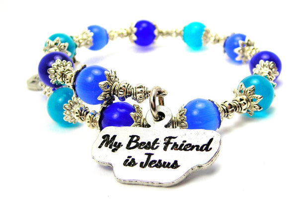 My Best Friend Is Jesus Cats Eyes Glass Beaded Wrap Bracelet