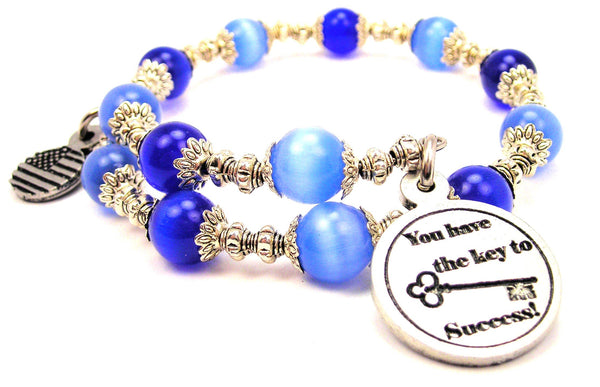 You Have The Key To Success Cats Eyes Glass Beaded Wrap Bracelet