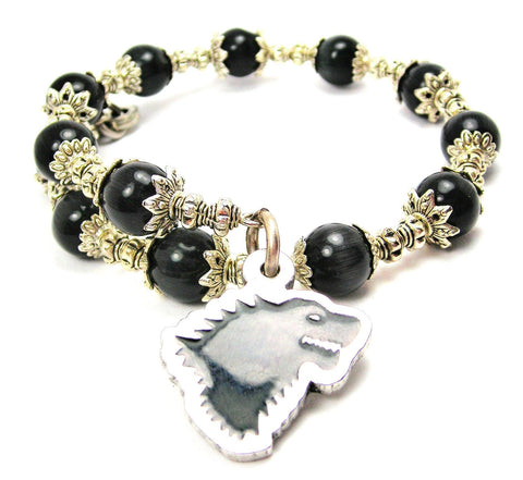 Black Dire Wolf Hand Painted Circle Cats Eyes Glass Beaded Wrap Bracelet