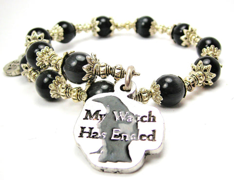 Black My Watch Has Ended Hand Painted Cats Eyes Glass Beaded Wrap Bracelet