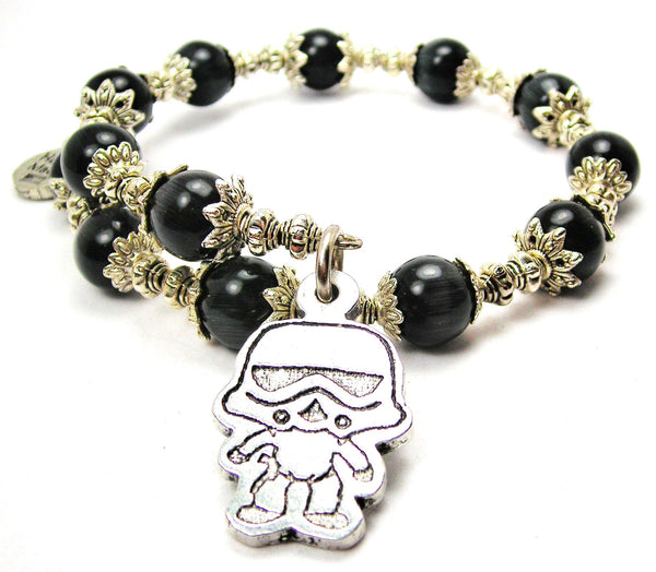 Stormtrooper Cats Eyes Glass Beaded Wrap Bracelet
