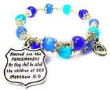 Blessed Are The Peacemakers For They Shall Be Called The Children Of God Matthew 5:9 Cats Eyes Glass Beaded Wrap Bracelet