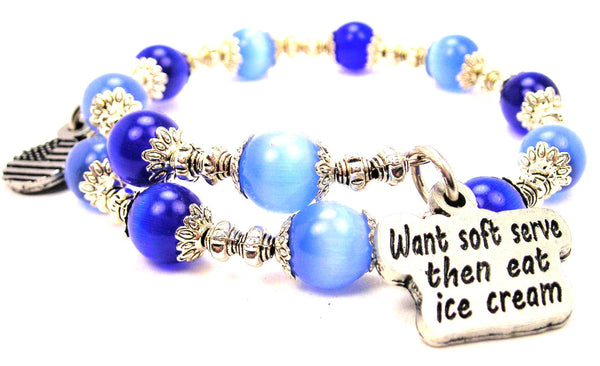 Want Soft Serve Than Eat Ice Cream Cats Eyes Glass Beaded Wrap Bracelet