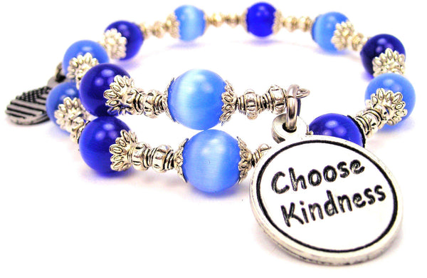 Choose Kindness Cats Eyes Glass Beaded Wrap Bracelet