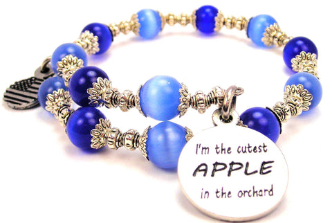 I'm The Cutest Apple In The Orchard Cats Eyes Glass Beaded Wrap Bracelet