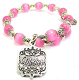 Mother Victorian Scroll Cats Eyes Glass Beaded Wrap Bracelet