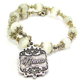 Nonna Victorian Scroll Cats Eyes Glass Beaded Wrap Bracelet