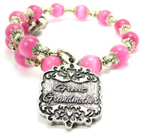 Great Grandmother Victorian Scroll Cats Eyes Glass Beaded Wrap Bracelet