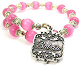 Babcia Victorian Scroll Cats Eyes Glass Beaded Wrap Bracelet