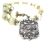Wife Victorian Scroll Cats Eyes Glass Beaded Wrap Bracelet