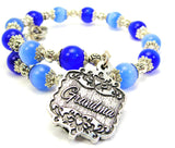 Grandma Victorian Scroll Cats Eyes Glass Beaded Wrap Bracelet