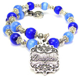 Daughter Victorian Scroll Cats Eyes Glass Beaded Wrap Bracelet