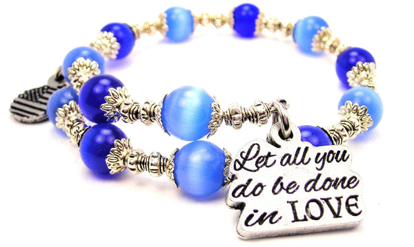 Let All You Do Be Done In Love Cats Eyes Glass Beaded Wrap Bracelet