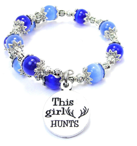 This Girl Hunts Cats Eyes Glass Beaded Wrap Bracelet