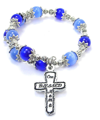 One Blessed Mama Cats Eyes Glass Beaded Wrap Bracelet