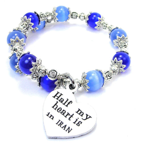 Half My Heart Is In Iran Cats Eyes Glass Beaded Wrap Bracelet