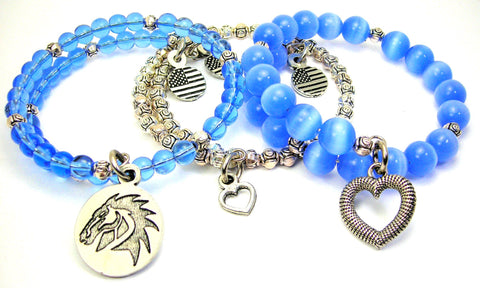 Stallion Head 3 Piece Wrap Bracelet Set Cats Eye Glass And Pewter