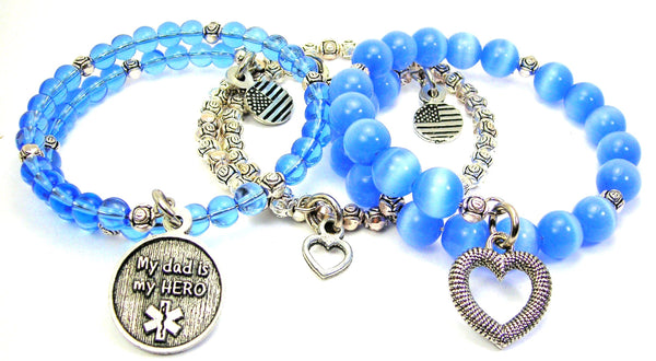 My Dad Is My Hero Emt 3 Piece Wrap Bracelet Set Cats Eye Glass And Pewter