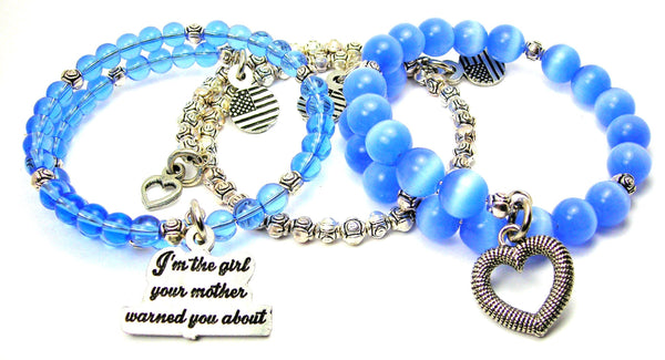 I'm The Girl Your Mother Warned You About 3 Piece Wrap Bracelet Set Cats Eye Glass And Pewter