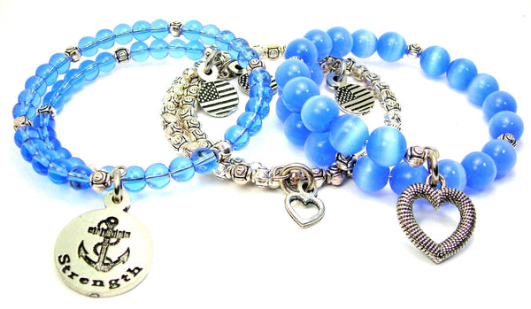 Strength Circle With Anchor 3 Piece Wrap Bracelet Set Cats Eye Glass And Pewter