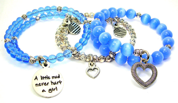 A Little Mud Never Hurt A Girl 3 Piece Wrap Bracelet Set Cats Eye Glass And Pewter