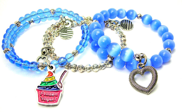 Frozen Yogurt Rainbow Epoxy 3 Piece Wrap Bracelet Set Cats Eye Glass And Pewter