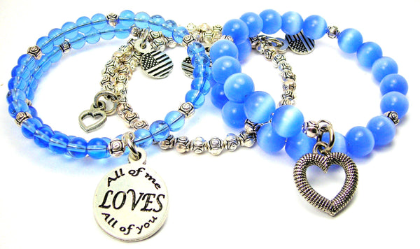 All Of Me Loves All Of You 3 Piece Wrap Bracelet Set Cats Eye Glass And Pewter