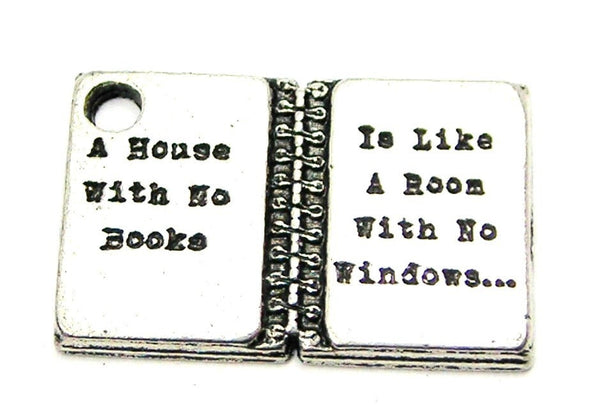 A House Without Books Is Like A Room With No Windows Genuine American Pewter Charm