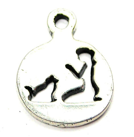 Kneeling Girl and Cat Silhouette Genuine American Pewter Charm