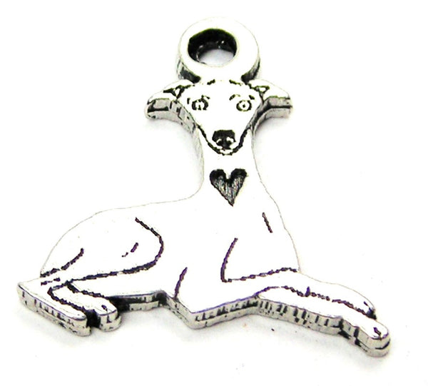 Sitting Greyhound Genuine American Pewter Charm