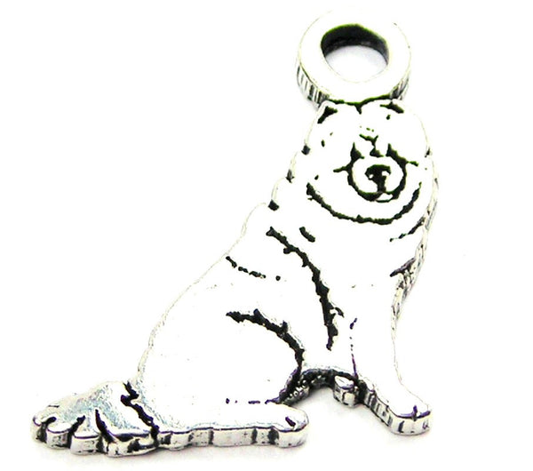 Sitting Chow Genuine American Pewter Charm
