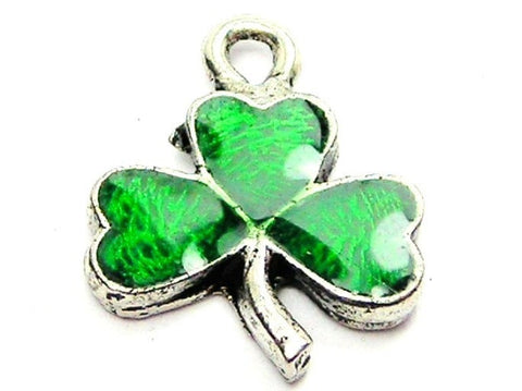 Hand Painted Green Irish Shamrock Genuine American Pewter Charm