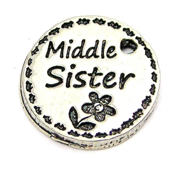 Middle Sister Circle Genuine American Pewter Charm