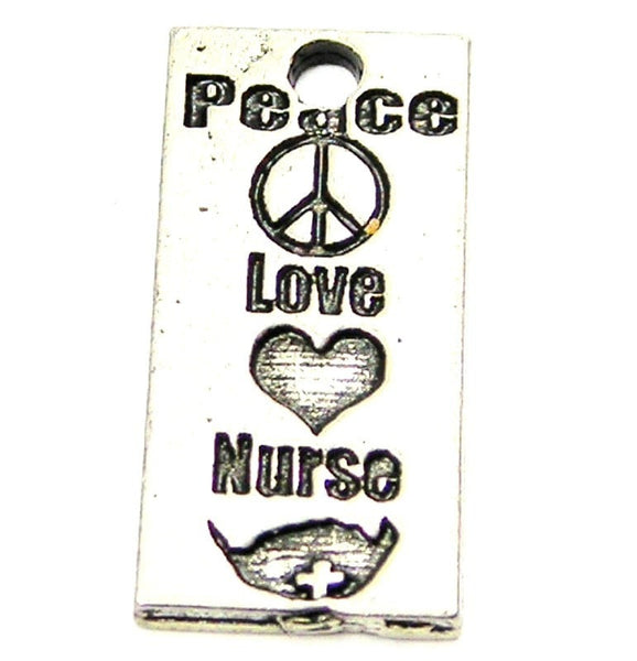 Peace Love Nurse Genuine American Pewter Charm