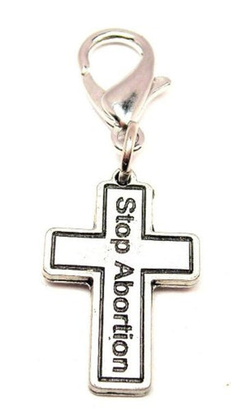 Cross Stop Abortion Zipper Pull