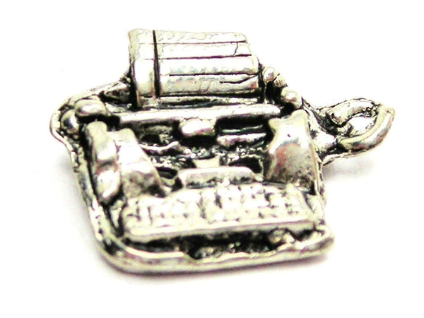 3D Type Writer Genuine American Pewter Charm