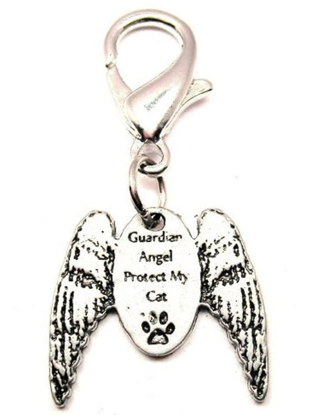 Guardian Angel Protect My Cat With Wings Zipper Pull