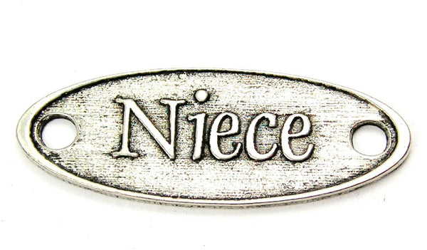 Niece - 2 Hole Connector Genuine American Pewter Charm
