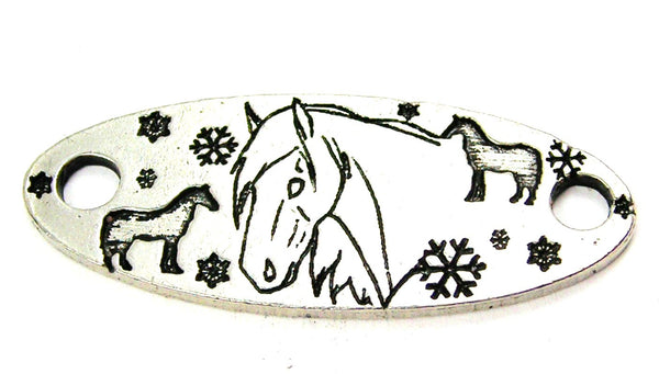 Snowflakes And Horses - 2 Hole Connector Genuine American Pewter Charm