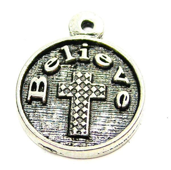 Believe With Textured Cross Genuine American Pewter Charm