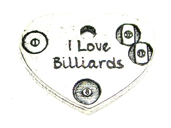 I Love Billiards Genuine American Pewter Charm