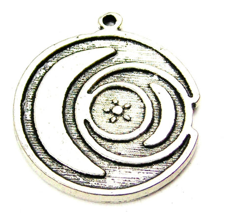 Triple Moon Circle Genuine American Pewter Charm