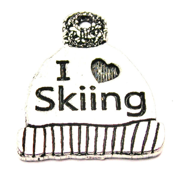 I Love Skiing Winter Hat Genuine American Pewter Charm