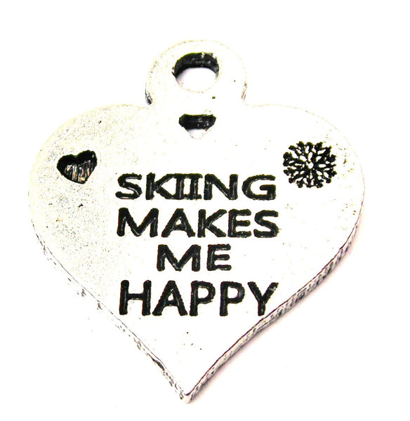Skiing Makes Me Happy Genuine American Pewter Charm