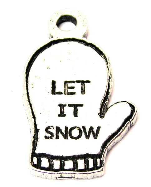 Let It Snow Winter Mitten Genuine American Pewter Charm
