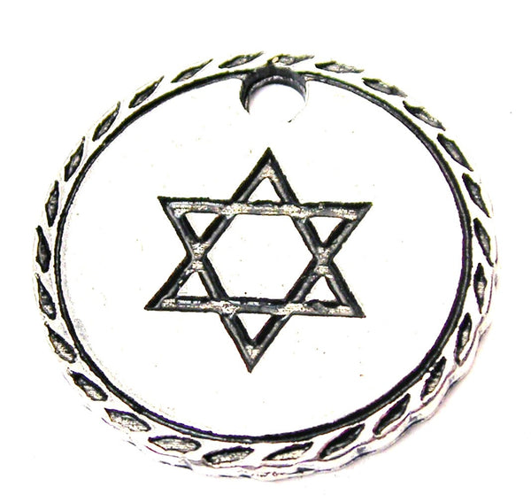 Star Of David Detailed Trim Genuine American Pewter Charm