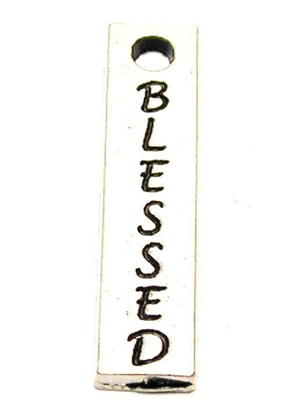 Blessed Long Tab Genuine American Pewter Charm